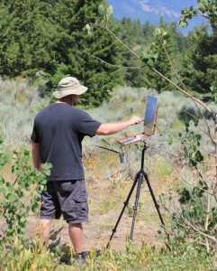 David M Berry doing Plein Air in the Tetons, Photo courtsey of Dee Lee